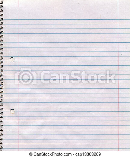 A somewhat dirty and wrinkled page of a spiral bound lined notebook. Good for backgrounds.
