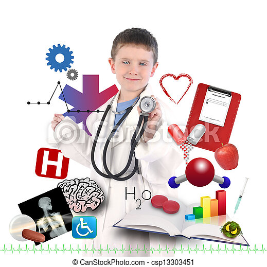 Child Doctor with Health Icons on White - csp13303451
