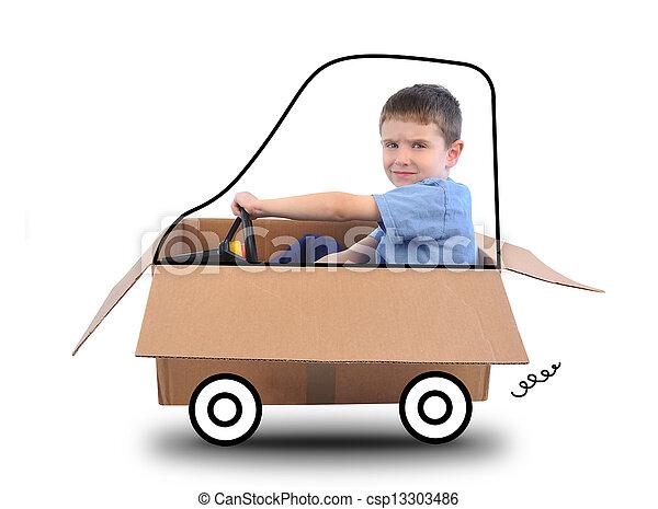 Boy Driving Box Car on White - csp13303486
