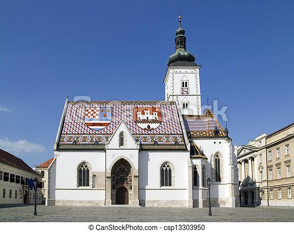 Church of St Mark Zagreb Croatia - csp13303950