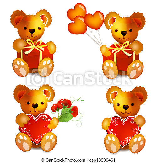 teddy bear drawing with heart and flowers