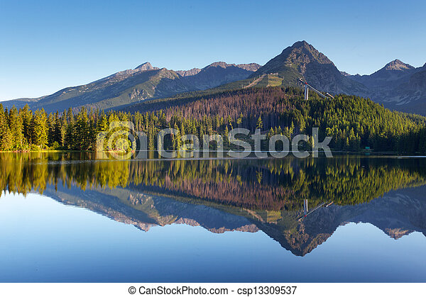 Nature mountain scene with beautiful lake in Slovakia Tatra - Strbske pleso - csp13309537