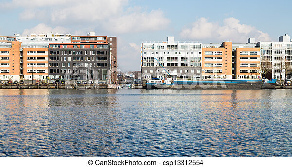 New residential area from Amsterdam along the harbor - csp13312554