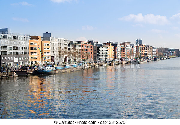 New residential area from Amsterdam along the harbor - csp13312575