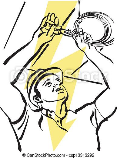 Eps vectores de electricista ilustraci n de un for Trabajo de electricista en malaga