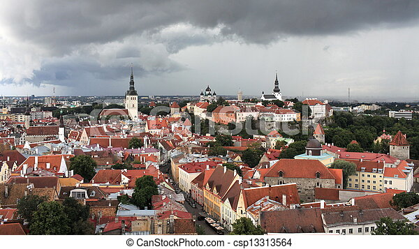 aerial view  of the medieval town Tallinn - csp13313564
