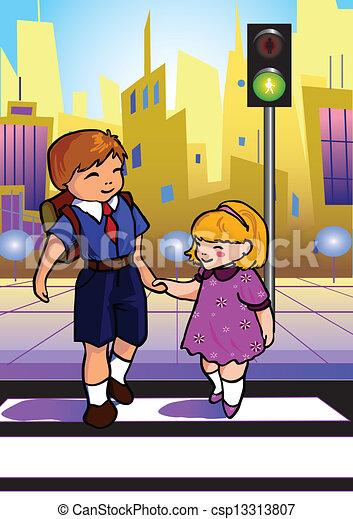 vector clipart of cross walk two children use a cross No Pedestrian Clip Art Bridge Clip Art
