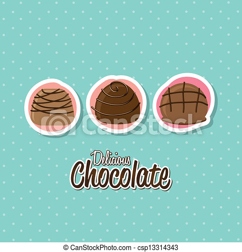eps vector of chocolate truffle set over white background