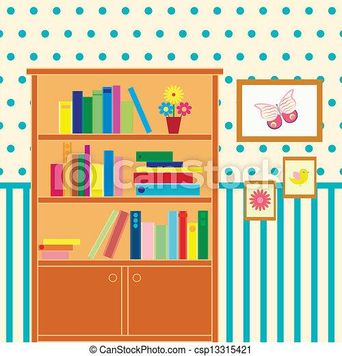 Ilustra o vetorial de sala estante de livros for Sala de estar 3x5