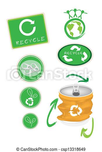 Eps vector de aluminio s mbolo amarillo lata reciclar - Simbolo de aluminio ...