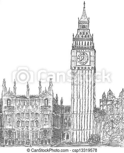 sketching of big Ben London England - csp13319578