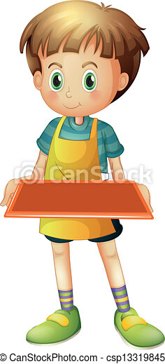 EPS Vector of A young waiter holding an empty tray ...