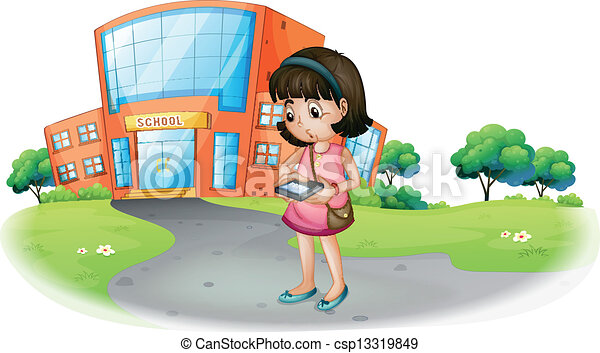 EPS Vector of A young girl texting in front of a school building ...