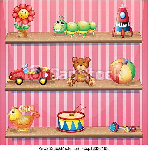 Art Vector of Wooden shelves with toys - Illustration of the wooden ...