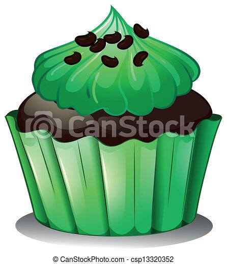Vecteur - a, chocolat, Petit gâteau, vert, toppings ...