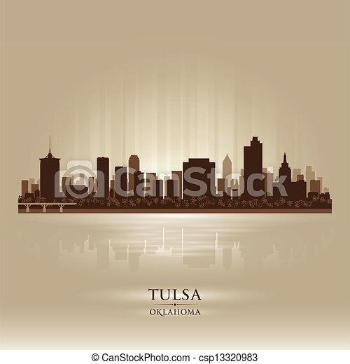 Tulsa Oklahoma city skyline silhouette - csp13320983