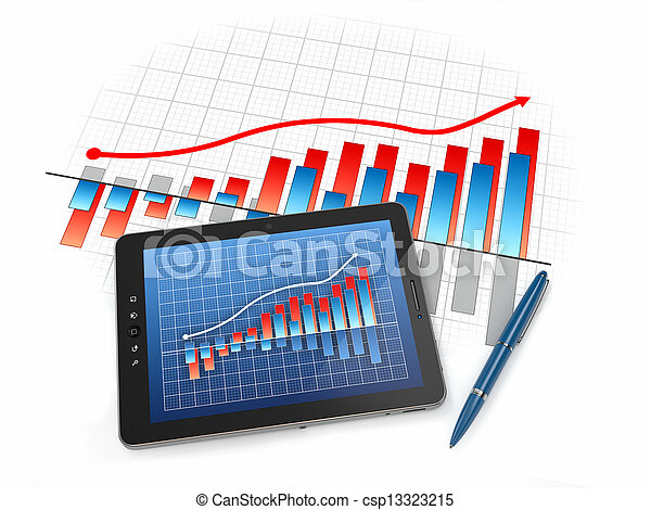 Digital tablet pc with financial chart and graph - csp13323215
