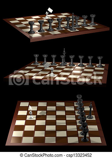 Chess allegory opposition citizen and government - csp13323452