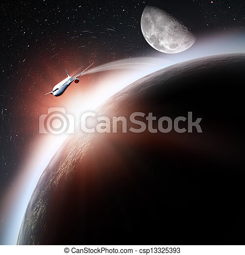 Space transportation and technologies in the future, abstract backgrounds - csp13325393