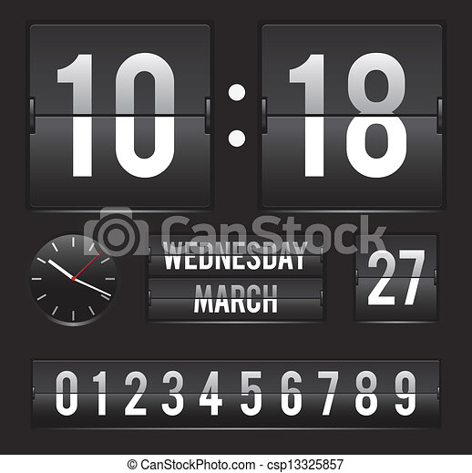 retro flip clock with dual date - csp13325857