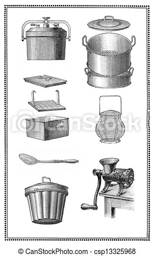 Kitchen Tools Drawings stock illustration of kitchen tools of the past: pans for every