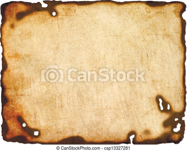 Old  paper with burnt edges isolated on white background. Vector  eps8 - csp13327281