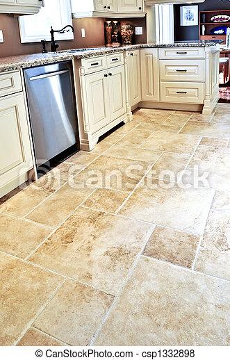 Tile floor in modern kitchen - csp1332898