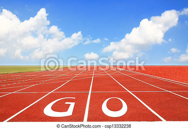 Running track with three lanes over sky and clouds  - csp13332238