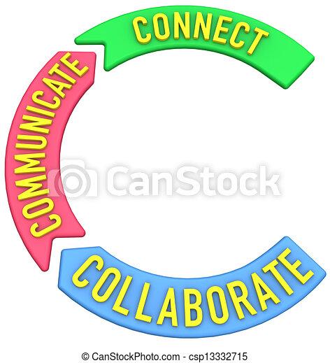 Connect collaborate communicate 3D arrows - csp13332715