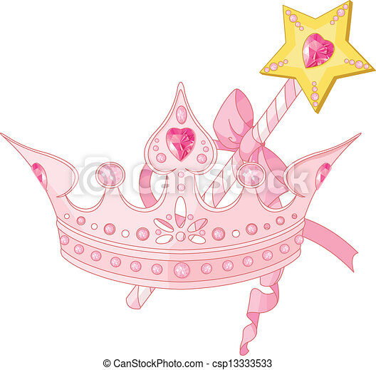 Princess crown and magic wand   - csp13333533