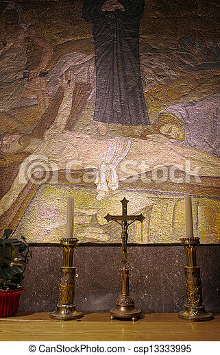 Post Crucifixion Mosaic - Church of the Holy Sepulchre - csp13333995