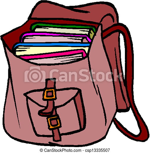 vector clipart of school bag with books csp13335507