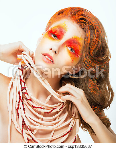 Expression. Face of Bright Red Hair Artistic Woman. Art Concept - csp13335687