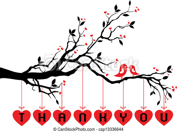 cute birds on tree with red hearts - csp13336644