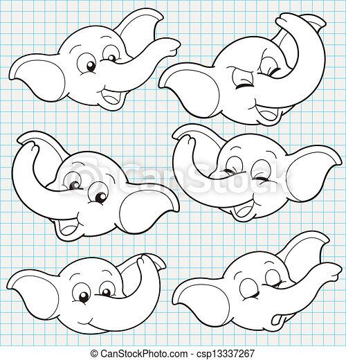 Clip Art de vectores de vector, garabato, lindo, elefante, cara ...