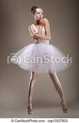 Sensuality. Elegant Styled Woman posing in White Dress. Fantasy - csp13337833