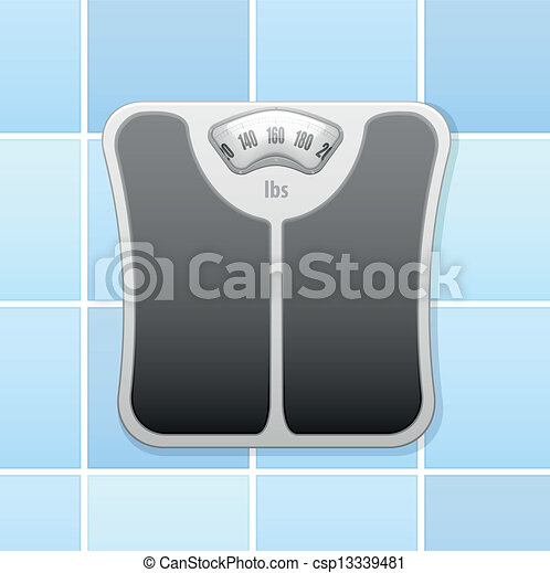 Vector of bathroom scale - detailed illustration of an ...