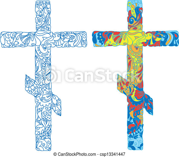 Orthodox ornamented cross for Easter holiday - csp13341447
