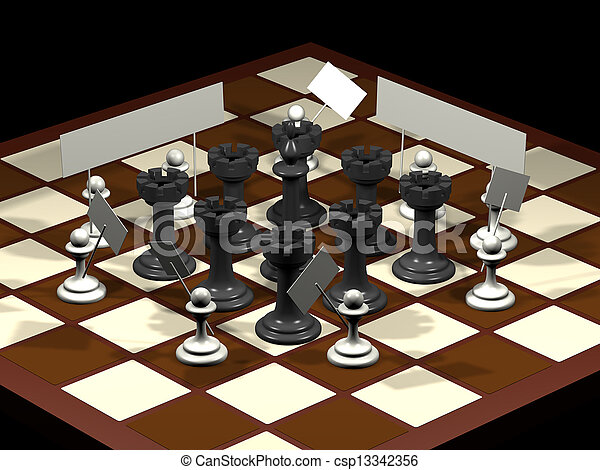 Chess allegory opposition citizens and government - csp13342356