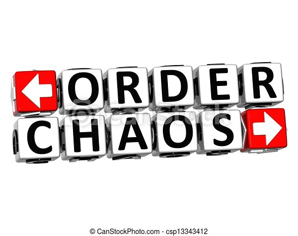 Clipart Of 3D Order Chaos Button Click Here Block Text