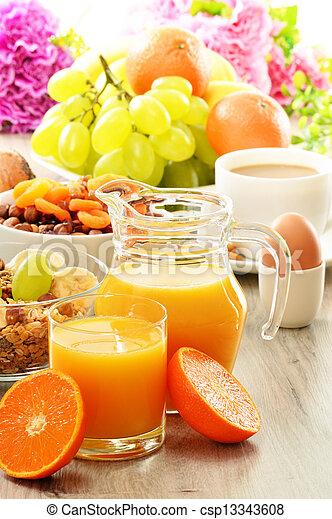 Breakfast including coffee, bread, honey, orange juice, muesli and fruits - csp13343608