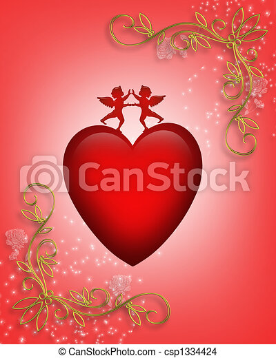 Valentine card or background Heart - csp1334424