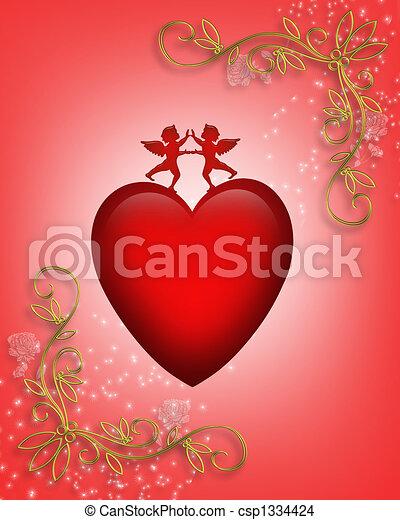 Valentine card or background Heart - csp1334424