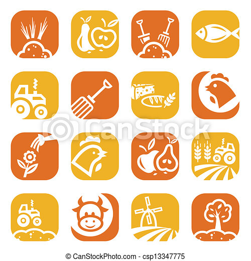 color agriculture and farming icons - csp13347775