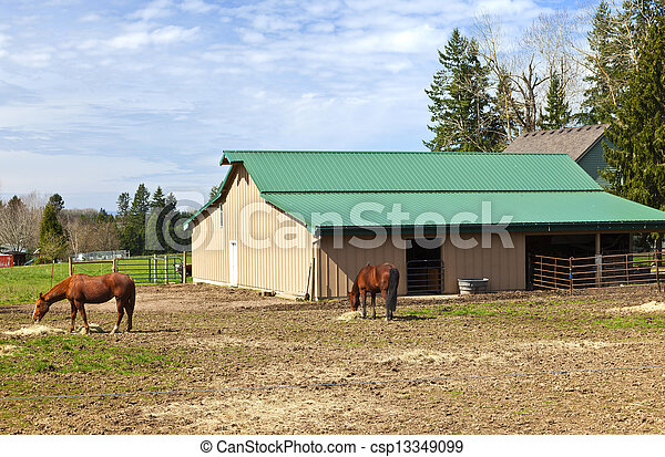 Feeding horses and barn in rural Oregon. - csp13349099