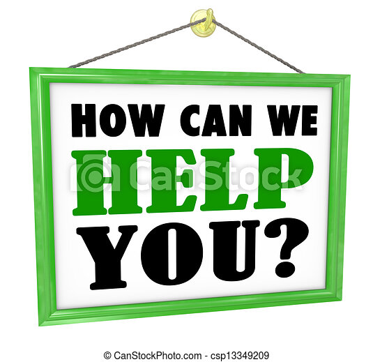 How Can We Help You Hanging Store Sign Helpful Service - csp13349209