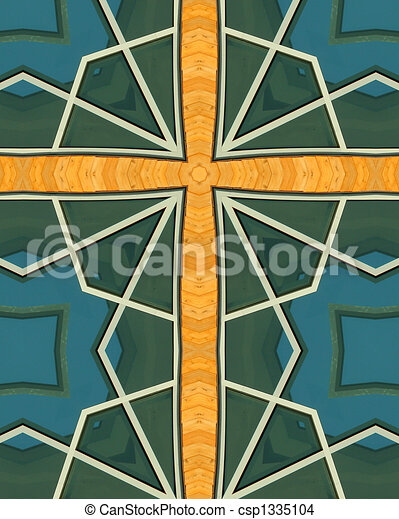 kaleidoscope cross:  wood and glass - csp1335104