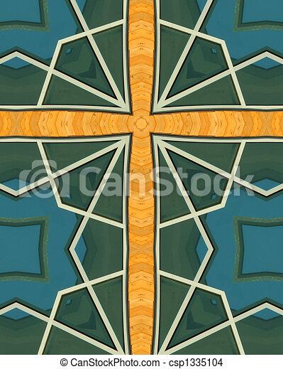 kaleidoscope cross:  wood and glass - csp1335104