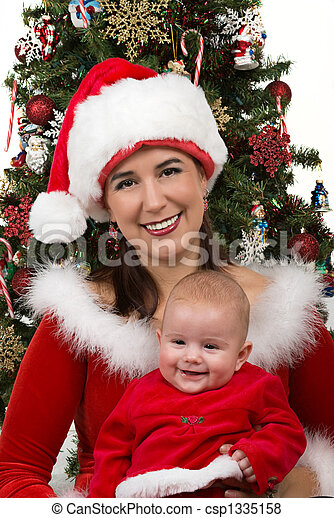 Mommy and Baby Santa - csp1335158