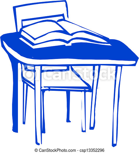 EPS Vectors of School desk csp13352296 - Search Clip Art, Illustration ...